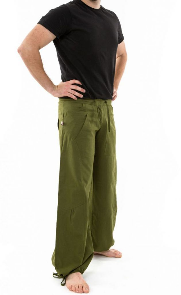 Pantalon ample en coton épais vert kaki pour homme Syni 305560