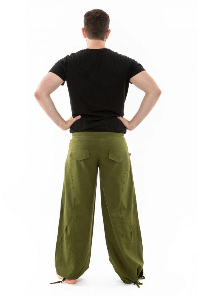 Pantalon ample en coton épais vert kaki pour homme Syni 305561