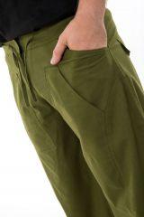 Pantalon ample en coton épais vert kaki pour homme Syni