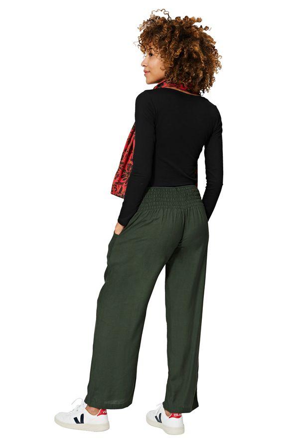 Pantalon ample pour femme couleur unie kaki boho Catalina