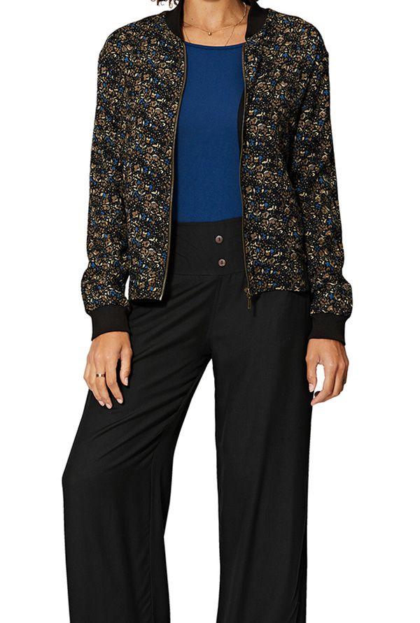 Pantalon ample pour femme couleur unie noire Selena