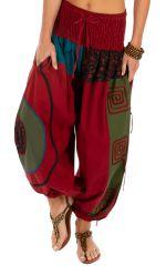 Pantalon ample pour femme et bouffant Kinkala bordeaux 313977