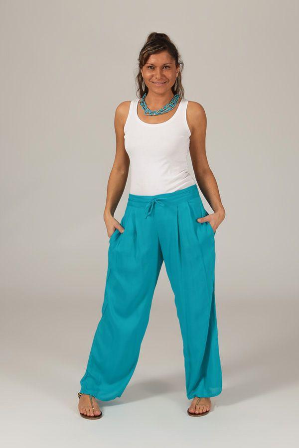 pantalon ample pour femme ethnique et fluide voltair bleu. Black Bedroom Furniture Sets. Home Design Ideas