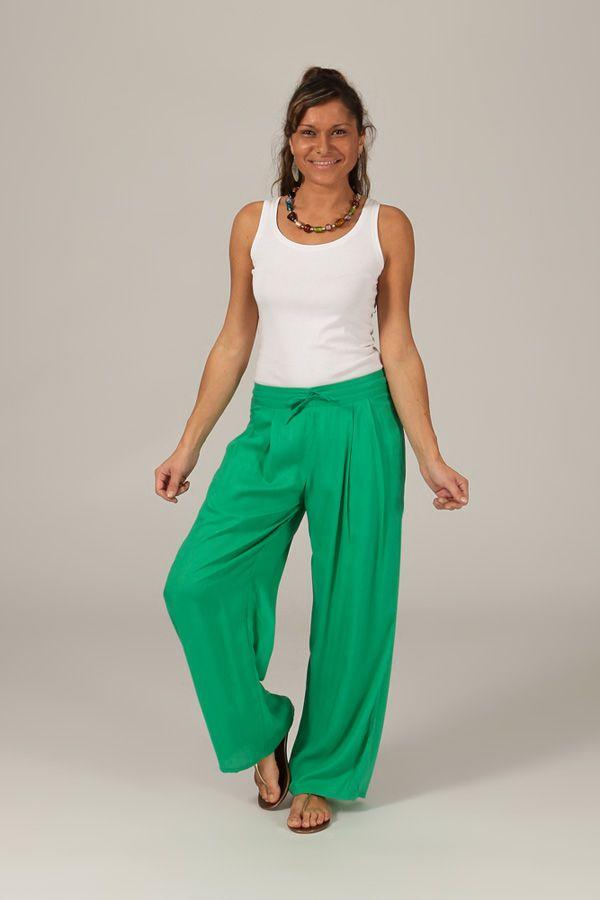 pantalon ample pour femme ethnique et fluide voltair vert. Black Bedroom Furniture Sets. Home Design Ideas