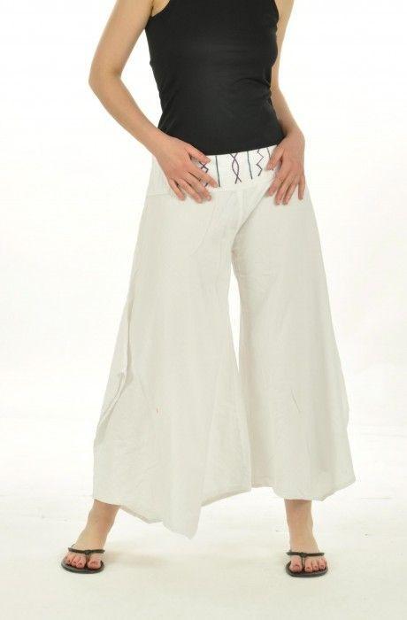Pantalon ample pour femme léonie blanc 240348