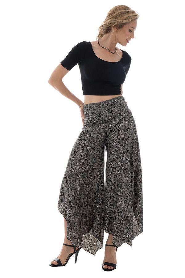 Pantalon avec charmante coupe asymétrique et motifs fantaisies Elin 289657