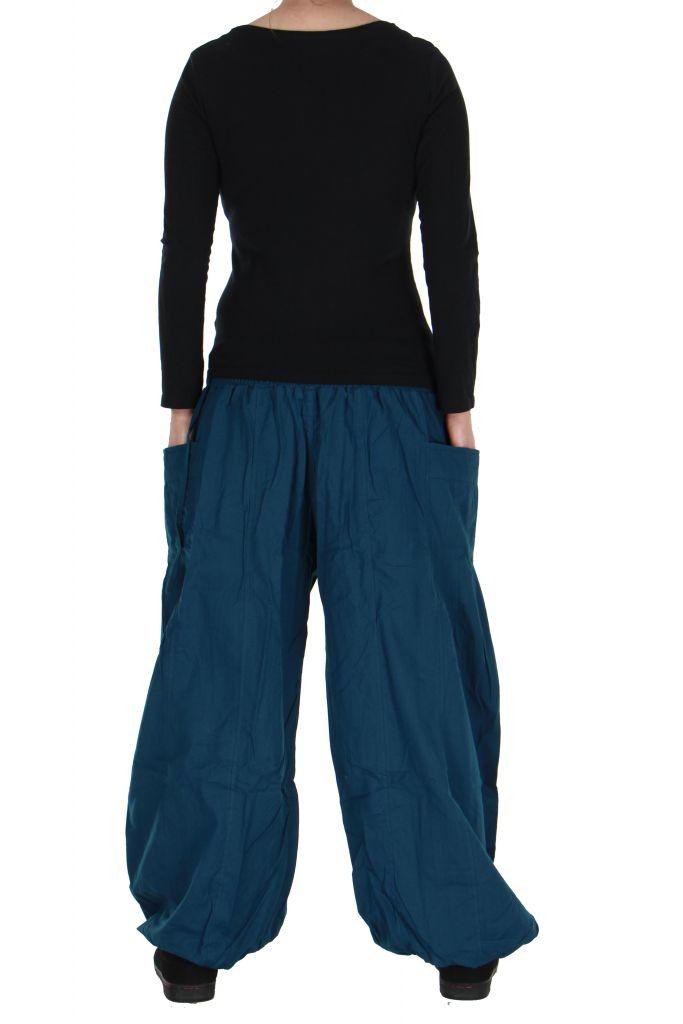 Pantalon basique ethnique Aladin bleu 266655