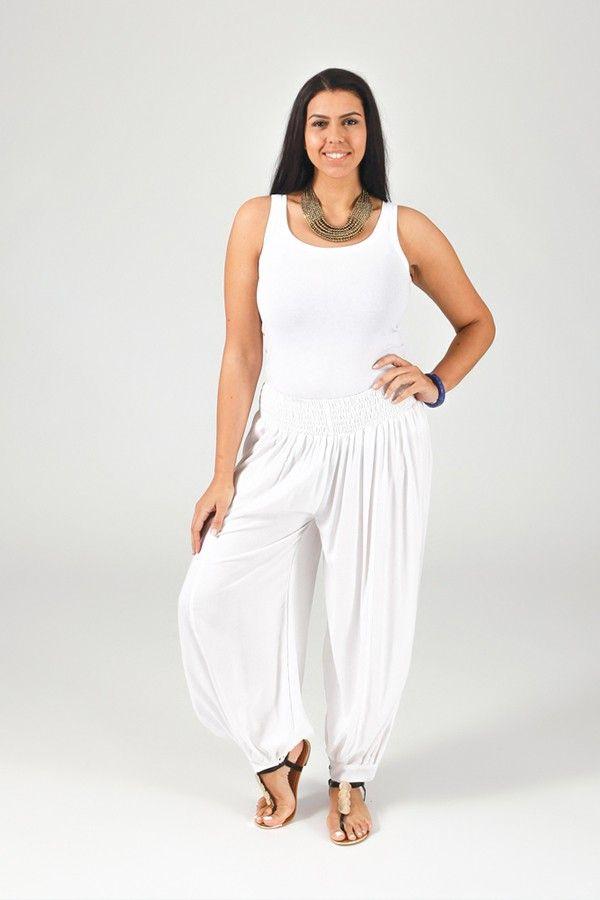 Pantalon Blanc Aladin pour femme Grande taille Edena 317361