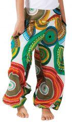 Pantalon Blanc et Multi pour Fille Bouffant Ethnique et Coloré Chaca 280110
