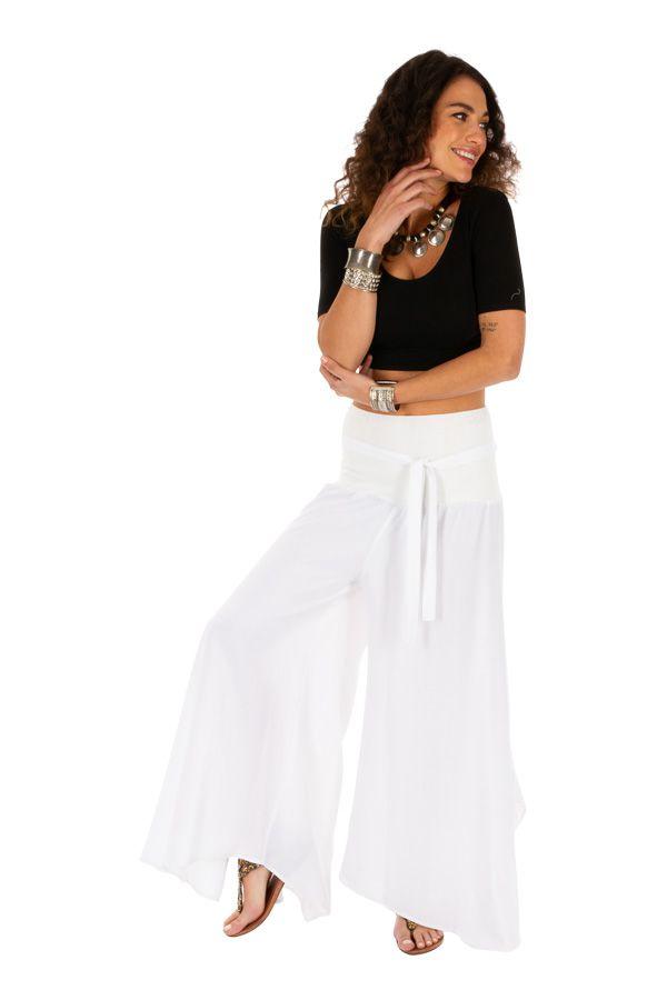 Pantalon blanc original pour femme fluide et ample Monika 311075