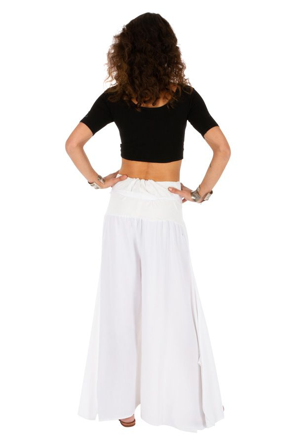 Pantalon blanc original pour femme fluide et ample Monika 311076