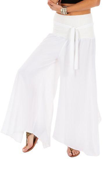 Pantalon blanc original pour femme fluide et ample Monika 311077