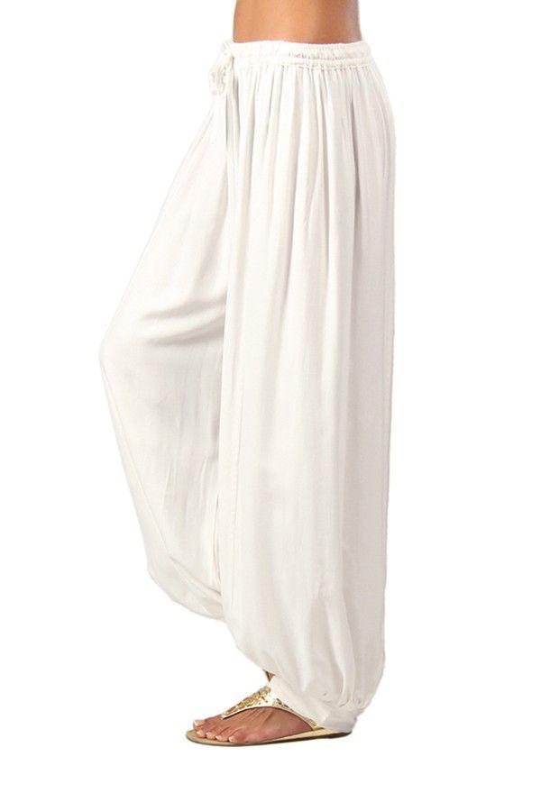 Pantalon Blanc pour Femme bouffant Ethnique et Original Gilian 282238
