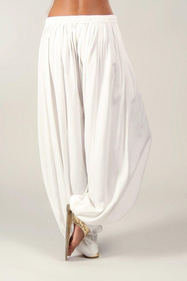 Pantalon Blanc pour Femme bouffant Ethnique et Original Gilian