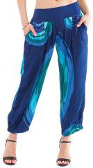 Pantalon Bleu d'été 7/8 Ethnique et Original Rudolf 281363