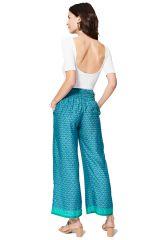 Pantalon bleu femme ample de style bohème chic Tara