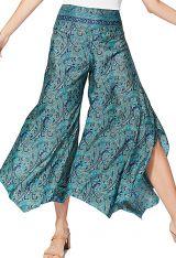 Pantalon bleu femme taille élastique pas cher imprimé Nariko