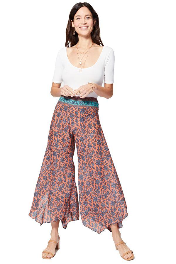 Pantalon bohème asymétrique femme d\'été fluide chic Nagisa