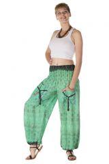 Pantalon bouffant avec 2 poches fluide imprimés tie & die vert pomme Rhéa 288405