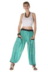 Pantalon bouffant avec 2 poches motif tie & die turquoise Héra 288407
