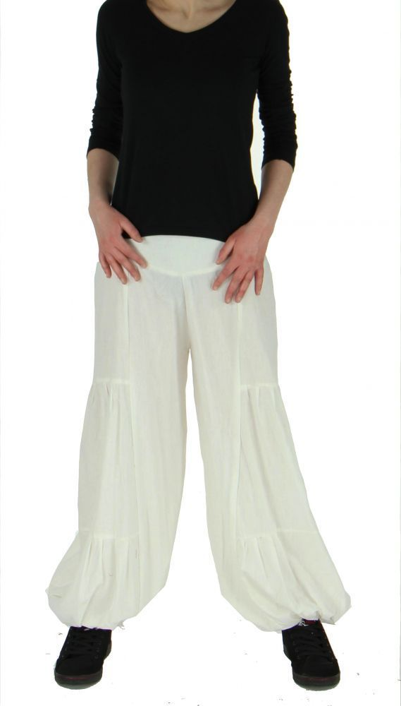 Pantalon bouffant ethnique hulap blanc 245108