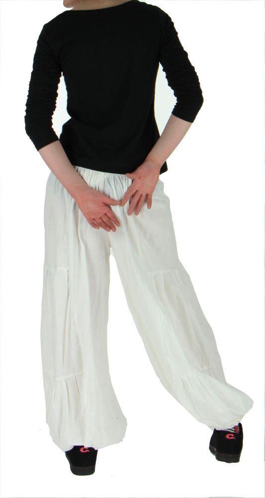 Pantalon bouffant ethnique hulap blanc 255139
