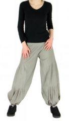 Pantalon bouffant ethnique hulap gris 245109