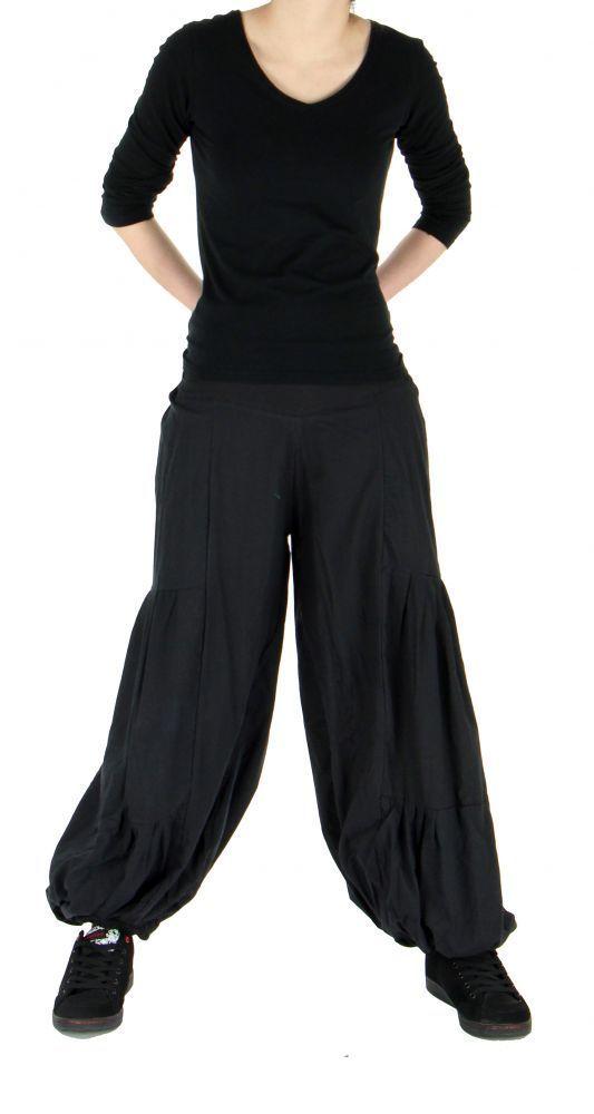 Pantalon bouffant ethnique hulap noir 245113