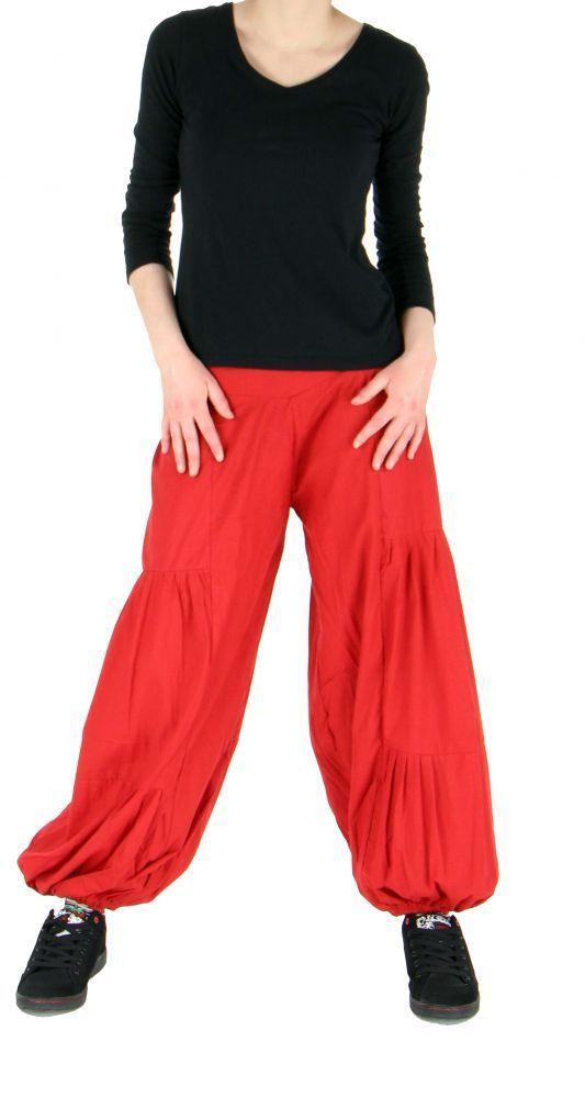 Pantalon bouffant ethnique hulap rouge 245110