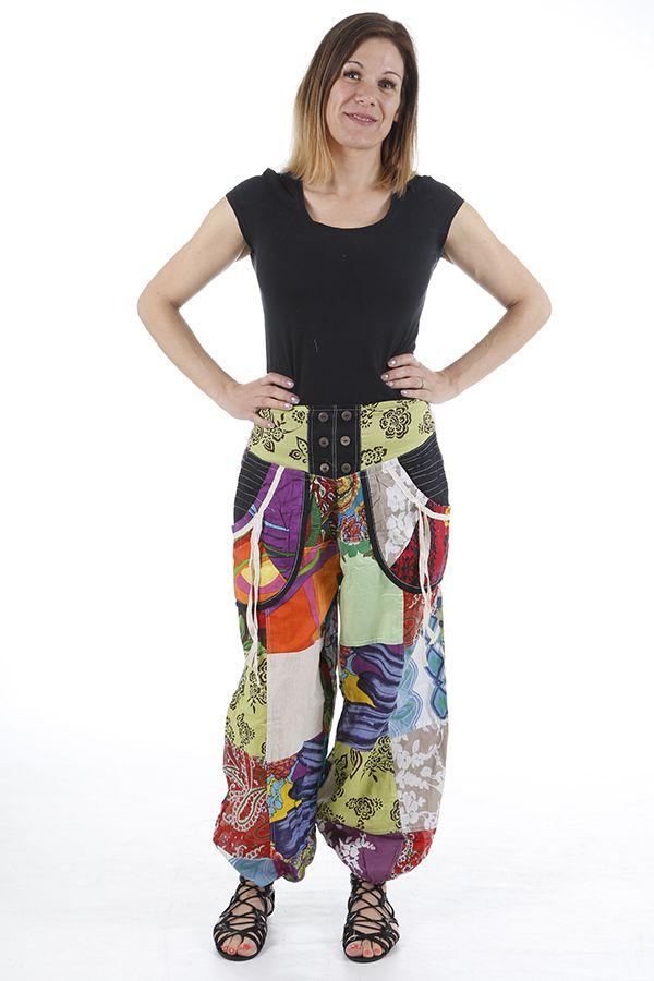 Pantalon bouffant original et très coloré ethnique Laurent 310633