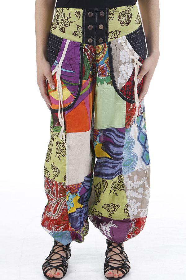 Pantalon bouffant original et très coloré ethnique Laurent 310634