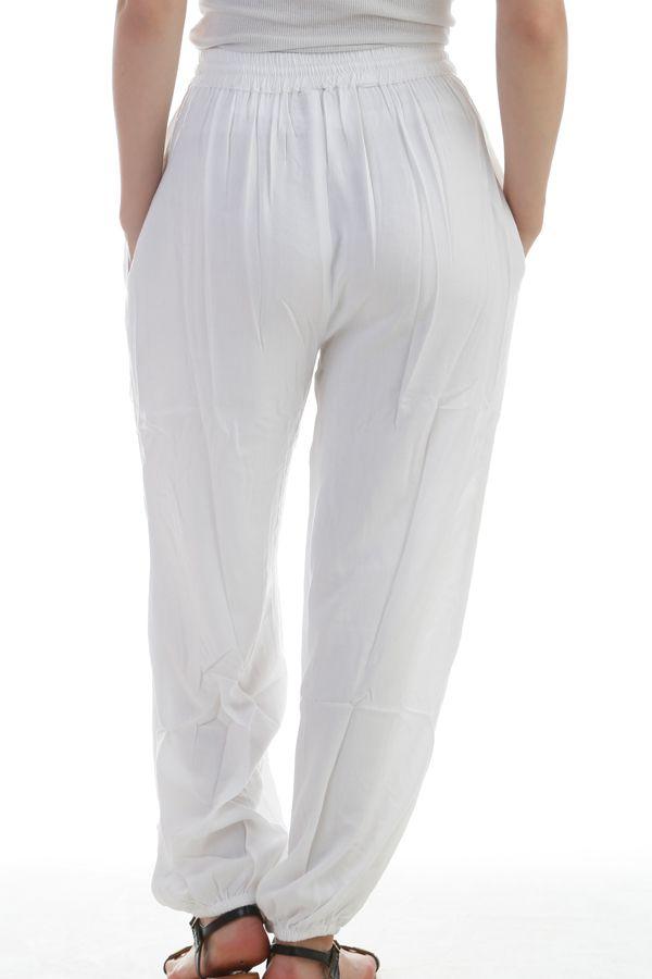 pantalon chic pour femme uni blanc bouffant et original. Black Bedroom Furniture Sets. Home Design Ideas