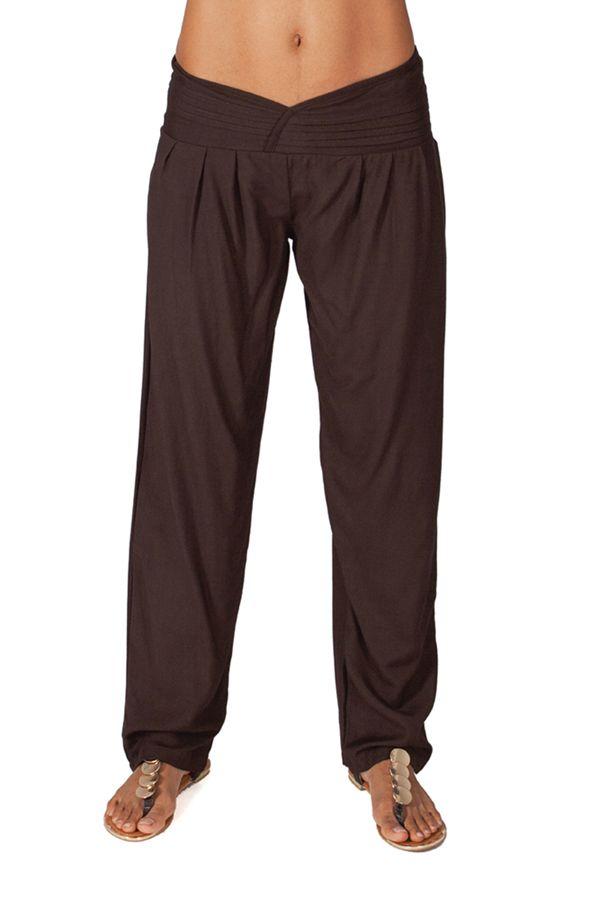 Pantalon Chocolat pour femme taille basse Ethnique et Original Giulio 282295