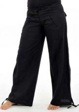 Pantalon classic noir pour femme en coton épais du Népal Hina 304699