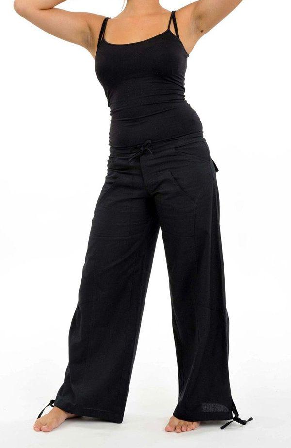 Pantalon classic noir pour femme en coton épais du Népal Hina 304701