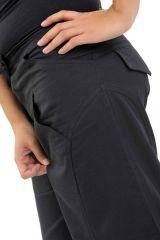 Pantalon classique noir pour femme en coton épais du Népal Hina 304702