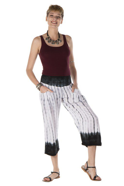 Pantalon coupe 3/4 avec 2 poches tie & die fluide blanc Héméra 288392