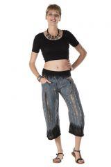 Pantalon coupe 3/4 avec 2 poches tie & die gris Némésis 288388