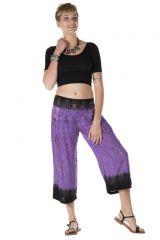 Pantalon coupe 3/4 avec 2 poches tie & die lilas Louisianne 288379
