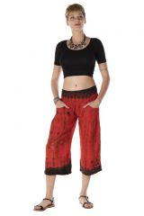 Pantalon coupe 3/4 avec 2 poches tie & die rouge Démeter 288390