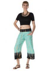 Pantalon coupe 3/4 avec 2 poches tie & die turquoise Néreide 288394