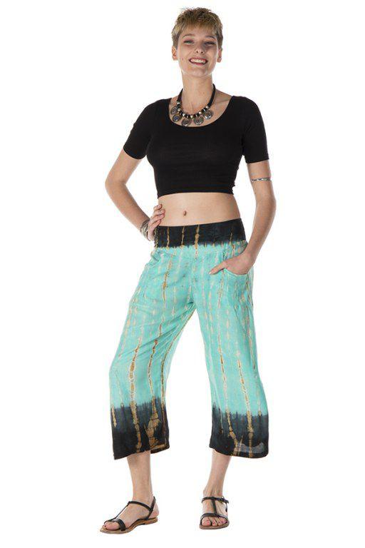 Pantalon coupe 3/4 léger tie & die turquoise Néreide 288394