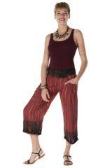Pantalon coupe 3/4 tie & die original bordeaux Arthémis 288377