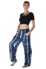 Pantalon coupe droite avec 2 poches tie & die bleu nuit Persephone 288386