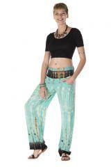 Pantalon coupe droite fluide sublime tie & die vert olympia 313532