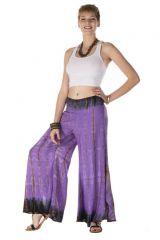 Pantalon coupe évasée motifs tie & die lilas Adrastée 288396