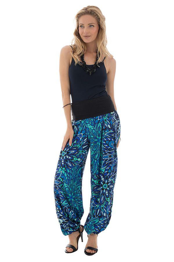 Pantalon coupe fluide et bouffante avec imprimés ethniques bleu Skule 289678