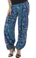 Pantalon coupe fluide et bouffante avec imprimés ethniques bleu Skule 292267