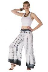 Pantalon coupe large évasée tie & die blanc Proserpine 288413