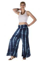 Pantalon coupe large évasée tie & die bleu nuit Hestia 288415
